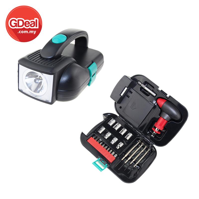 GDeal 24pcs Hardware Tool Set Flashlight Set Convenience Portable Toolbox With Flashlight