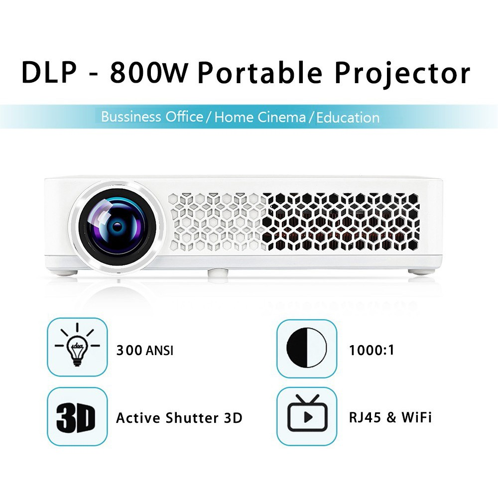 [SE] DLP - 800W Portable Projector 1280 x 800 Pixels 300ANSI Android 4 4 4  1080P