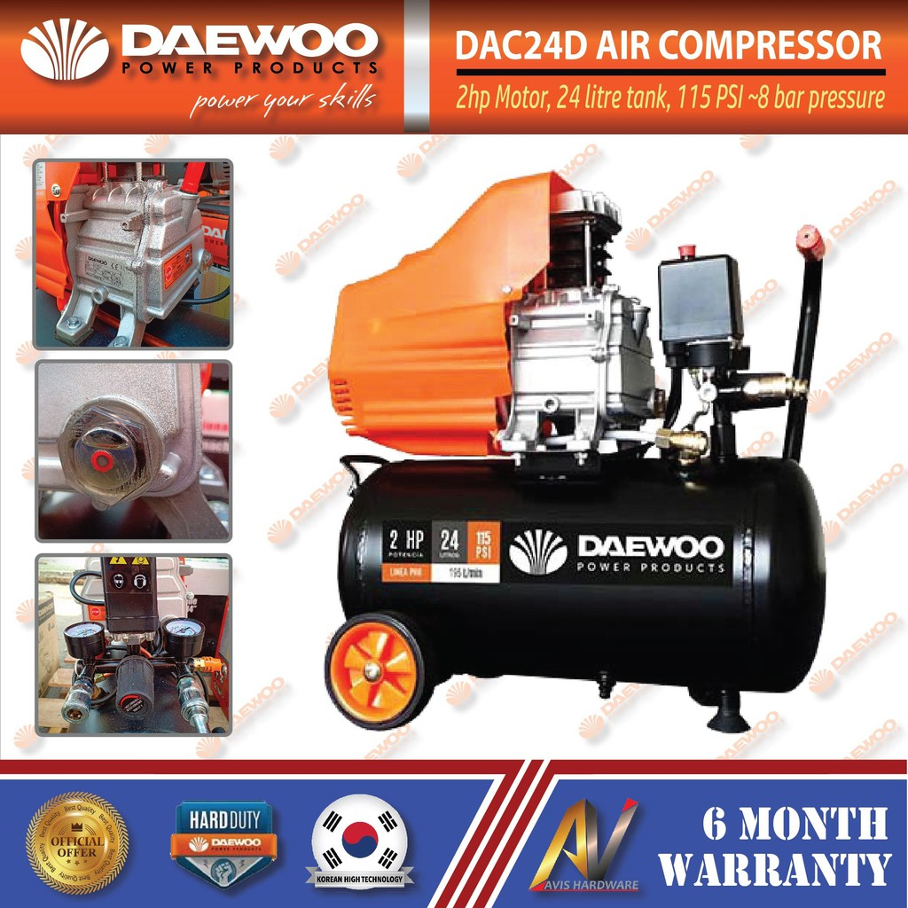 DAEWOO DAC24D AIR COMPRESSOR 2HP 24LITRE