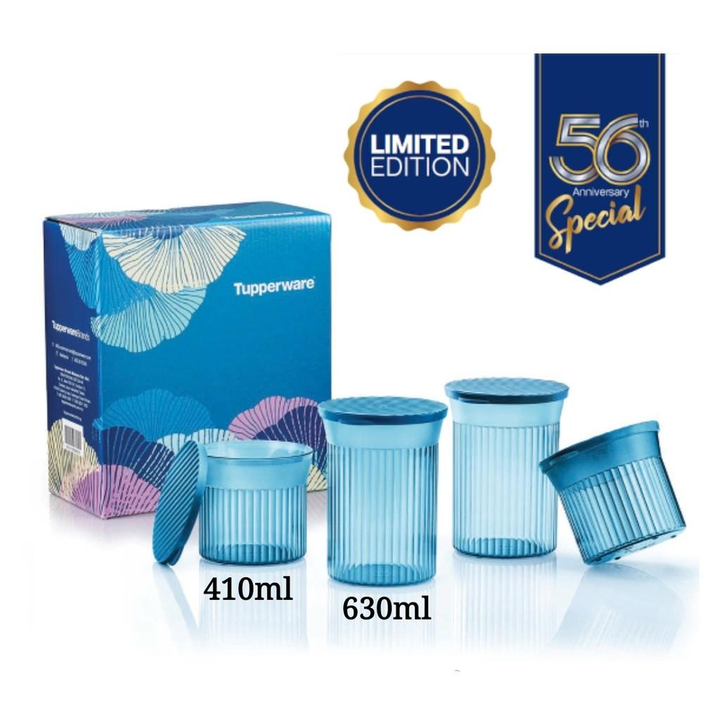 🔥SALES🔥Tupperware Elegant Round Set (4) 630ml + 410ml with Box - Blue
