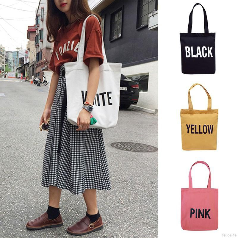 ✨felicelife✨Casual Fashion Letter Print Square Canvas Shoulder Bag