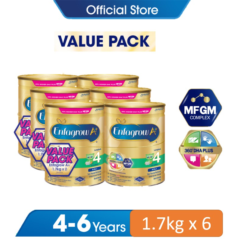 ENFAGROW A+ STEP 4 (1.7KG X 6) VALUE PACK - MILK FORMULA