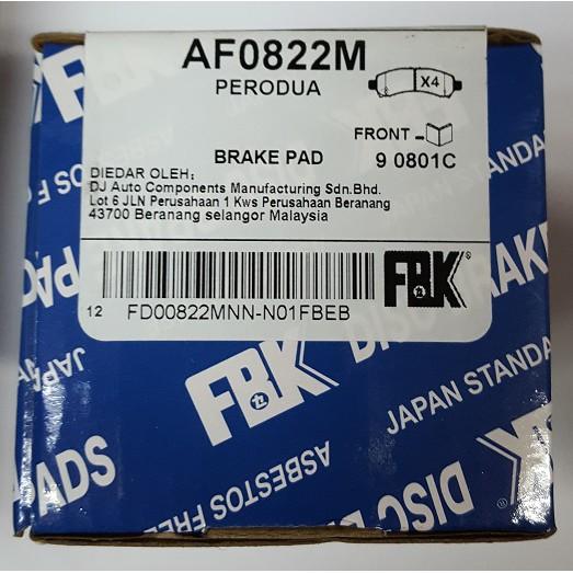MYVI LAGI BEST(NEW) 1.3 1.5, AXIA, BEZZA FRONT DISC BRAKE PAD SET FBK BRAND AF0822M
