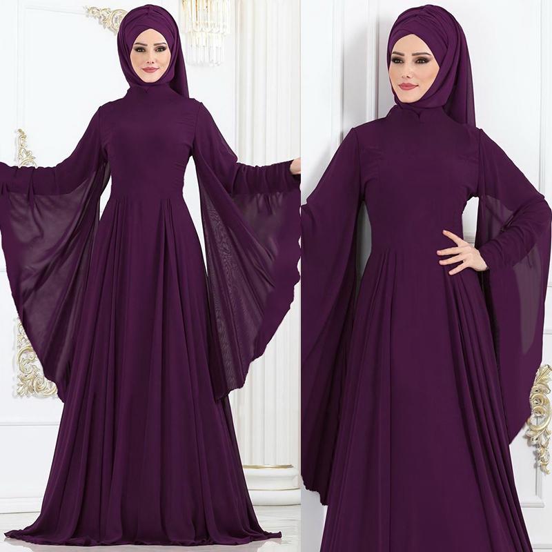 Puke Women New Pure Color Muslim Clothing Casual Baju Fashion Jubah Muslimah Maxi Dress Simple Plus Size Dresses