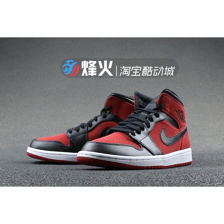 size 40 aa871 b86cf 💕Ready Stock💕 Air Jordan 1 Mid AJ1 Black Red To Help The Small Ban Wear