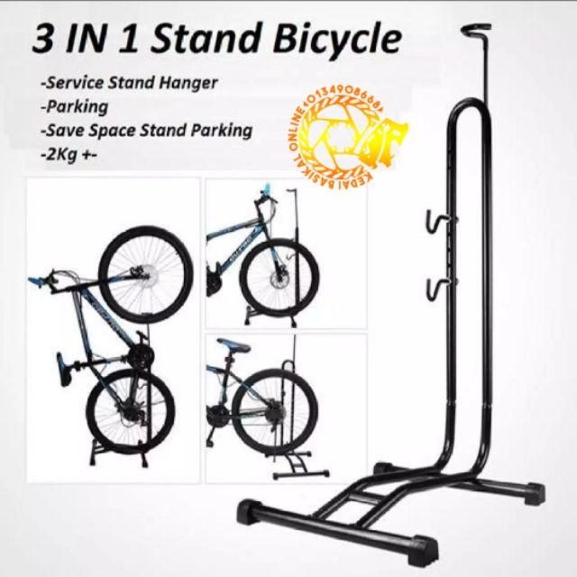 Bicycle Bike Display Triple Wheel Hub Repair Stand Kick Stand Parking Portable.