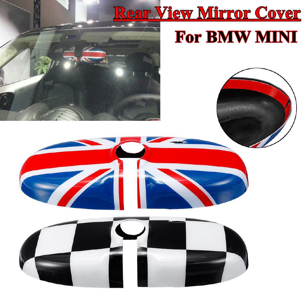 Black UK Flag Inner Rearview Mirror Cover For BMW MINI Cooper R52 R55 R56 R57