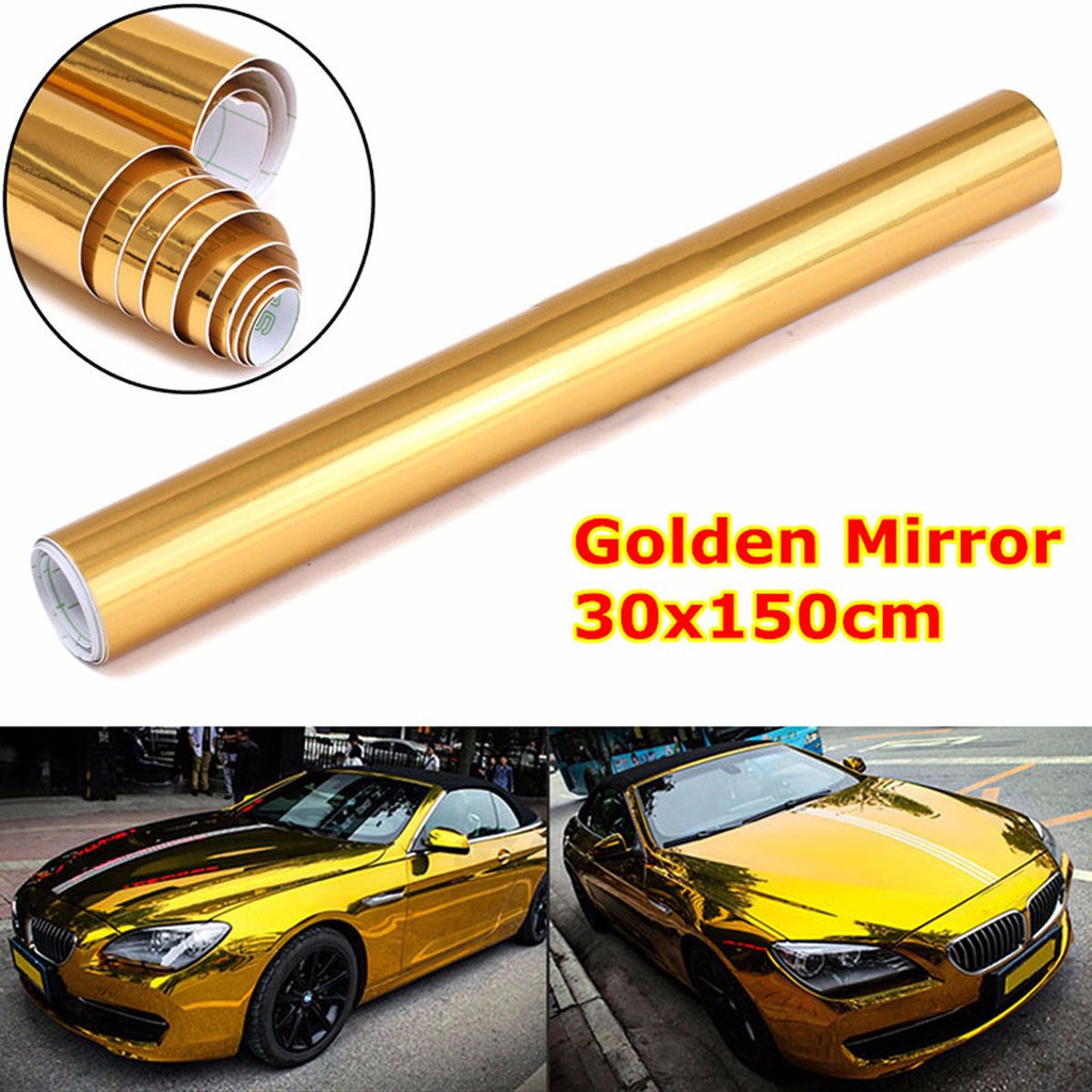 "4/""x60/"" Chrome Gold Mirror Vinyl Wrap Film Roll Sheet Sticker Bubble Free"