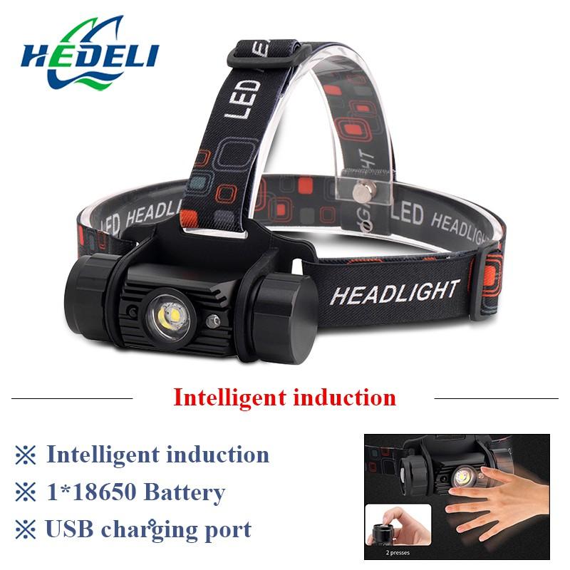 led headlight IR Sensor Induction xml t6 usb headlamp L2 head torch 18650 batter