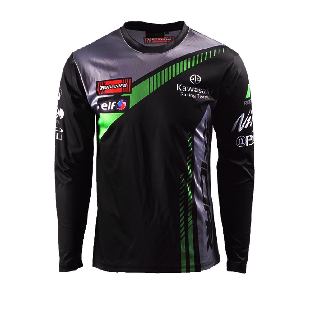 Kawasaki Motocard Team Black Racing T Shirt Short Sleeve Mens Motosport Bikers