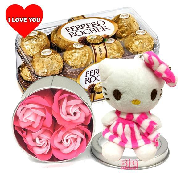 Valentine's Day Gift Ferrero Rocher + Hello Kitty + Flowers in Tin