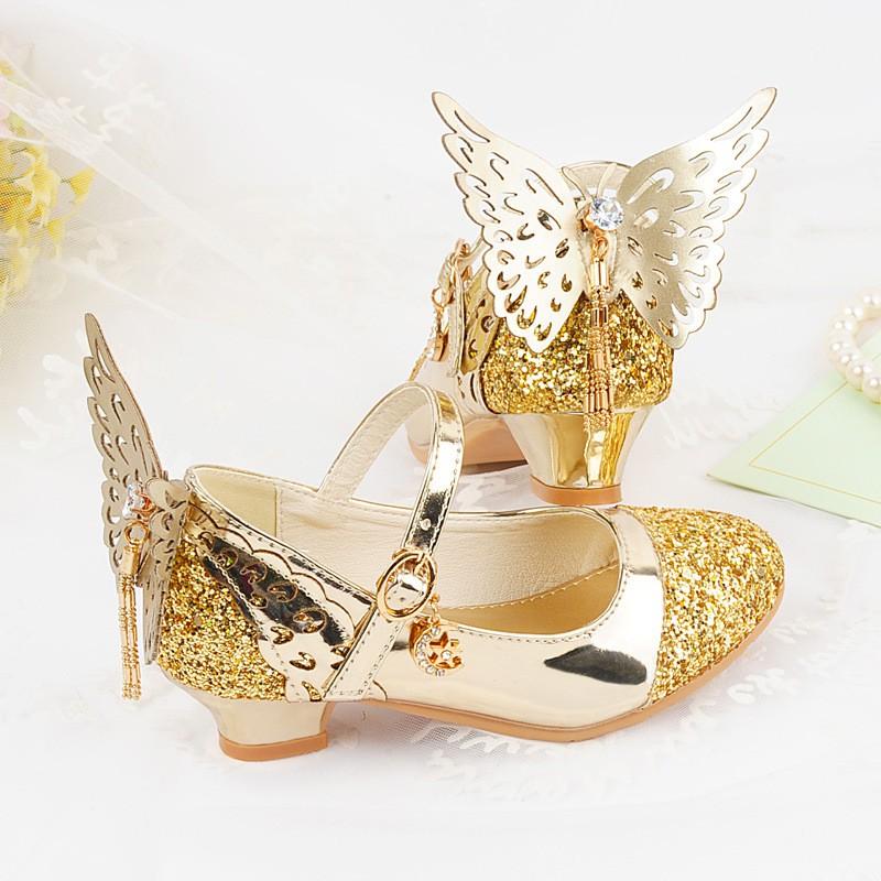 c1c05e3d82f Childrens high heels girls sals princess shoes bright crystal