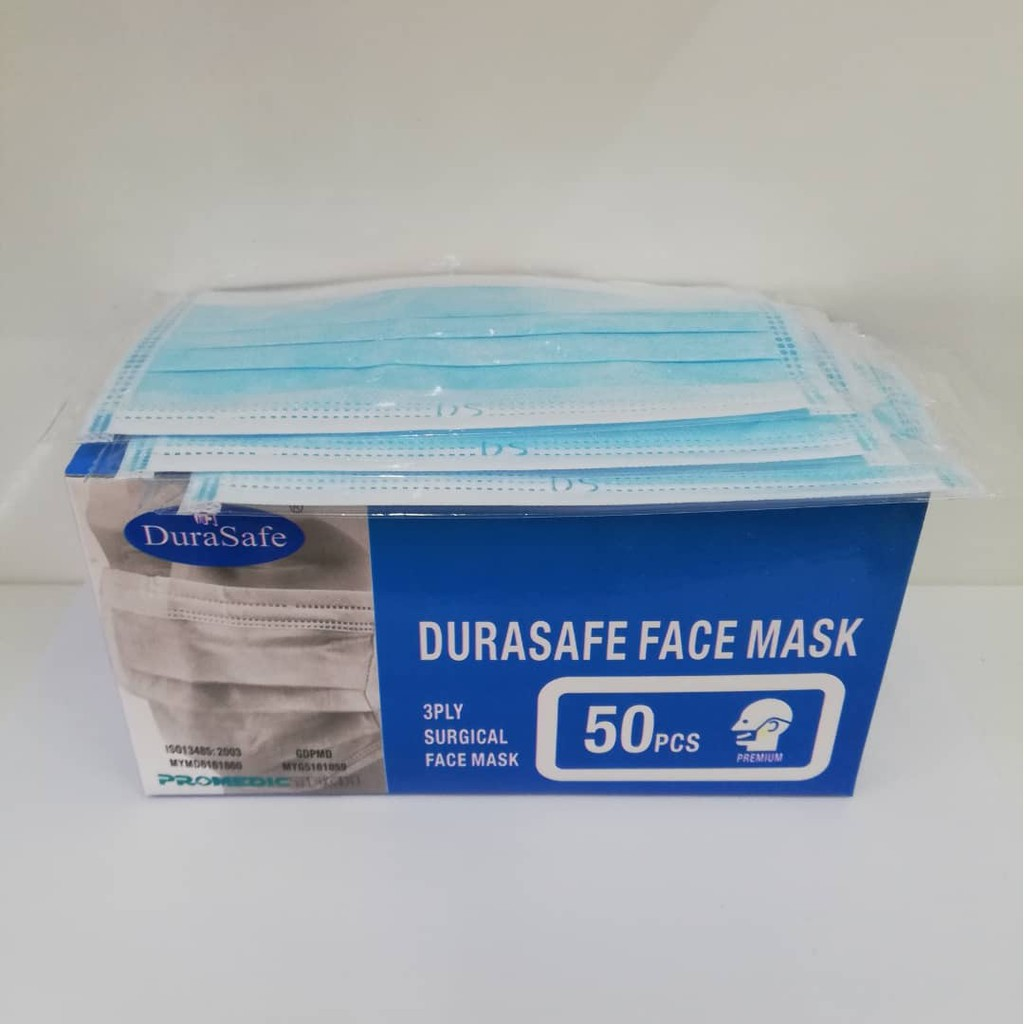 On box Durasafe Face 3ply 50pcs Mask-tie Surgical