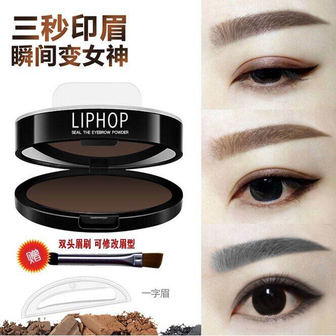 Beauty Essentials 1pair Eyebrow Template Stamp Sponge Eyebrows Seal Eyebrow Powder Brow Stamp Sponge Eye Brow Lazy Puff Printed Seal Cream