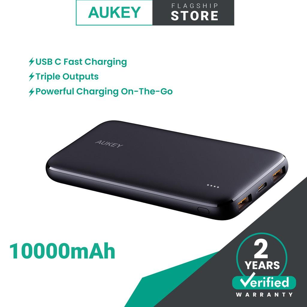 (NEW) AUKEY PB-N73 Slim Ultra Thin 10000mAh Universal Powerbank , USB C Power Bank for Android & iOS Apple Device