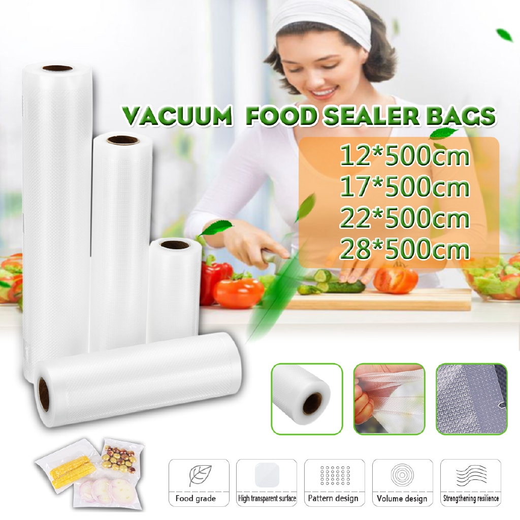 10 Roll 28cm Vacuum Food Sealer Vac Bags Saver Home With Automatic Sealer Packer