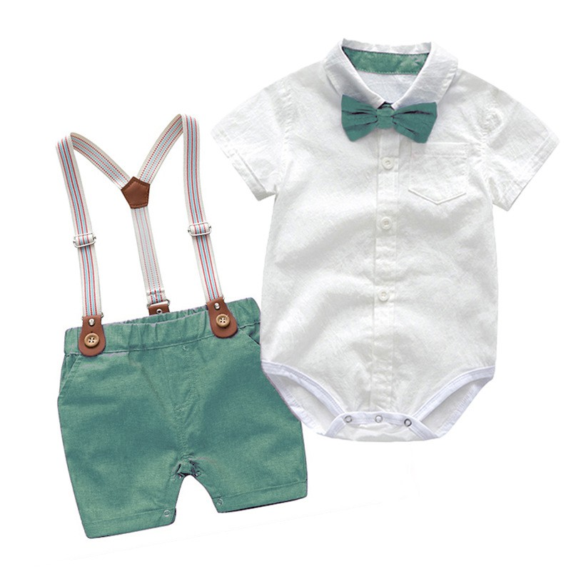 Baby Boy Clothes Summer Gentleman Birthday Suits Newborn Party Dress Soft Cotton Solid Rmper Belt Pants Infant Toddler Shopee Malaysia