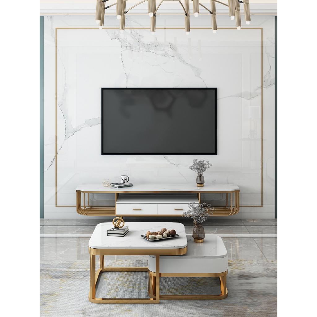Living Room Furniture Modern Minimalist Light Luxury Marble Tv Cabinet Shopee Malaysia