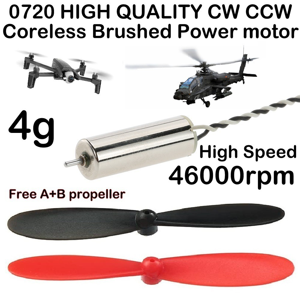0720 High quality Coreless Brushed CW CCW power drone Motor Micro FPV Tiny RC Quadcopter helicopter with A B propeller