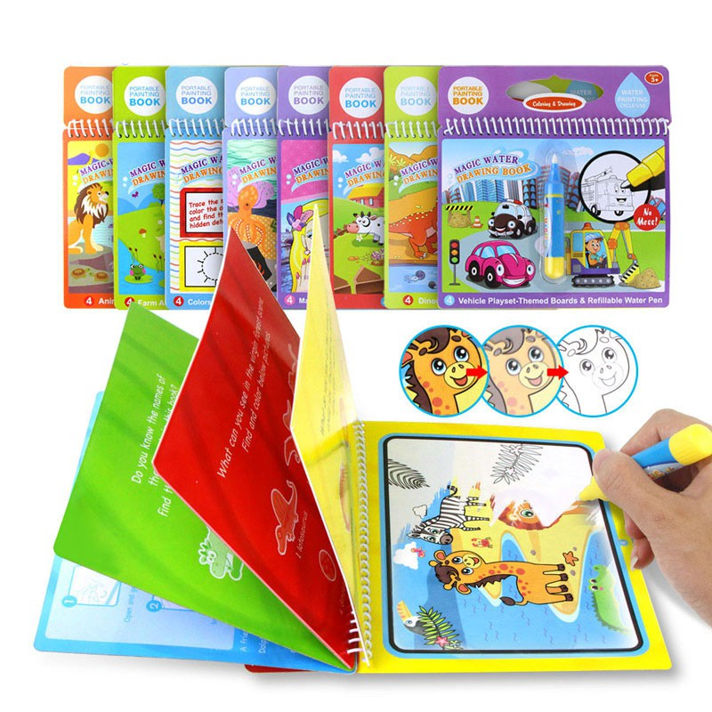 Ready Stock Reusable Water Drawing Book Magic Pen Kids Early