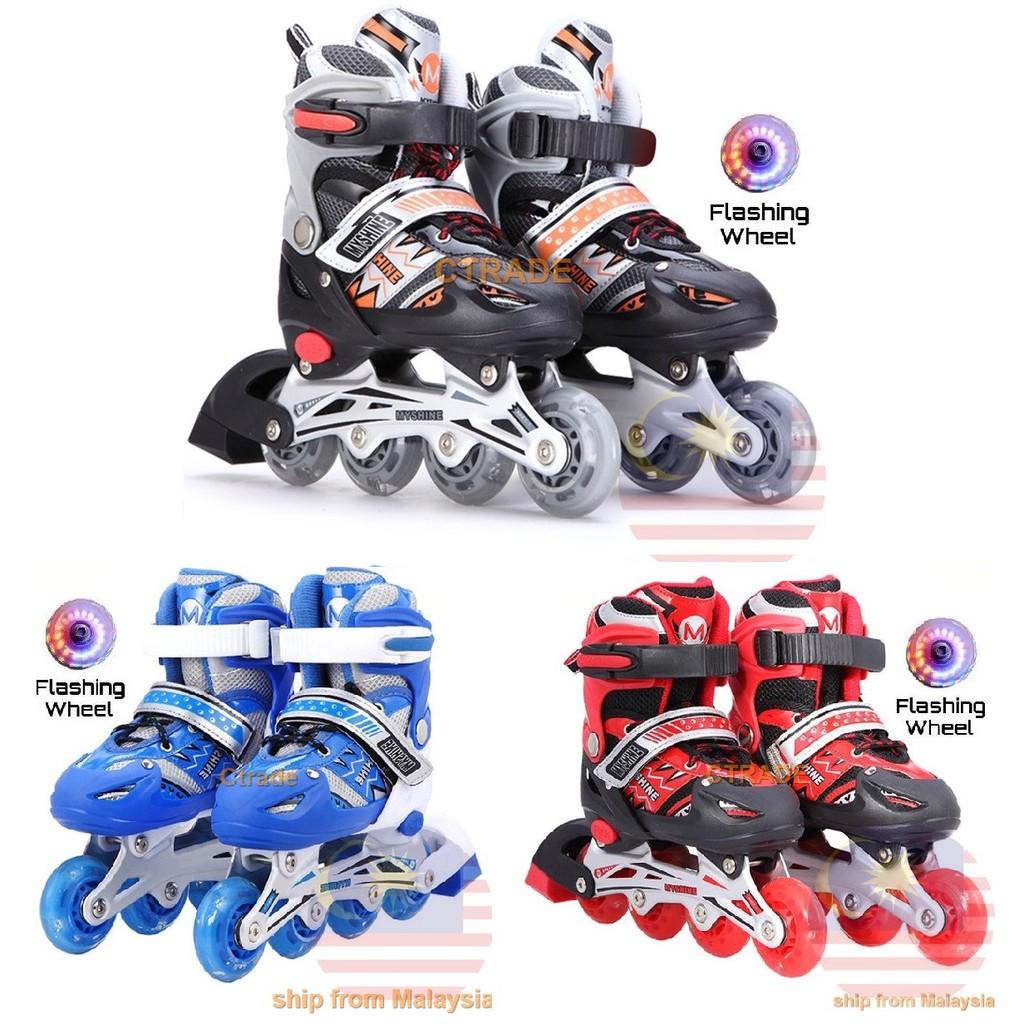 Kids Rollerblade Inline Skate Gosome + Flashing Wheel Adjustable Shoe Kasut  Roda  7892e3e4de