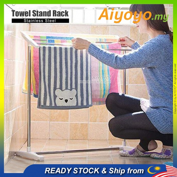 Towel Stand Rack Towel Rack Cloth Drying Rack Penyidai Baju Rak Baju Rak Pakaian Floor Standing Clothes Rail Standing To