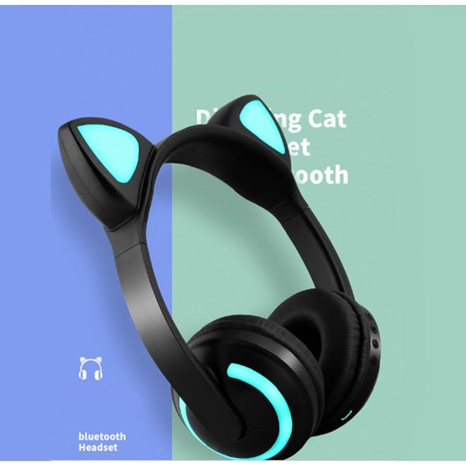 Wireless Bluetooth Headset Cat Ear Foldable LED Headphone Stereo Headset
