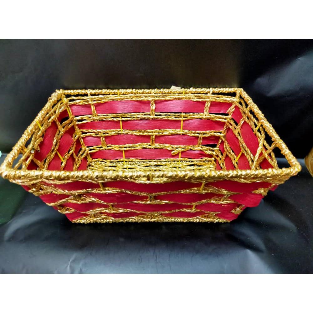 [READY STOCK] Special dengan Paper +Bamboo Basket Flower Rectangle Shape ( BA11 ) H Z
