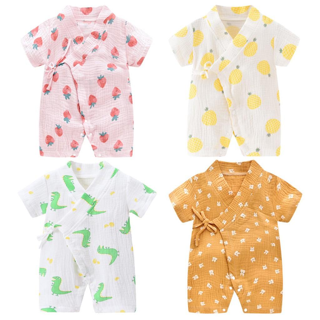 Newborn Infant Baby Boy Girls Cute Cartoon Yarn Robe Kimono Romper Jumpsuit Soft Cotton Home Sleepwear