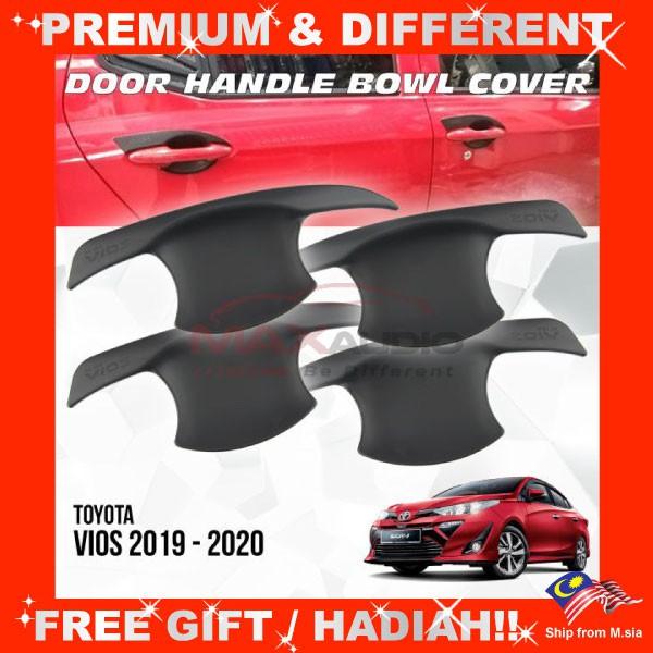 [FREE Gift] TOYOTA VIOS 2019 - 2020 Matt Black Door Handle Inner Bowl Protector Cover Trim (4pcs/Set)