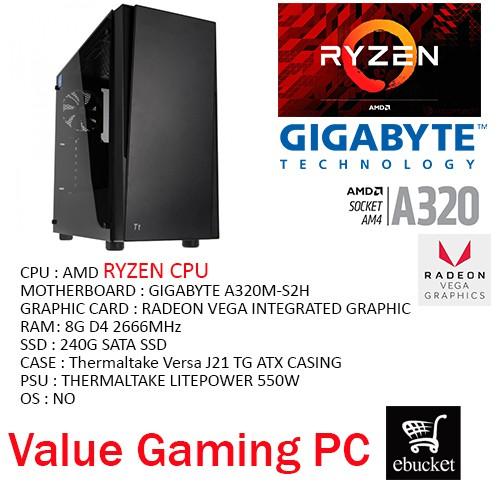 AMD RYZEN /GIGABYTE A320M-S2H/240G SSD/8G RAM/TT VERSA J21 GAMING PC