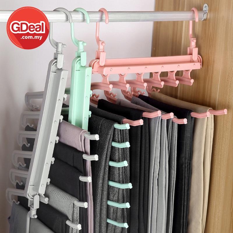 GDeal Wardrobe Multi Functional Folding Multi Layer Space Saver Pants Hanger Penyangkut Seluar ڤڽاڠكوت سلوار