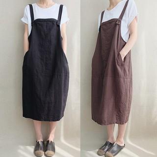 Plus Size ZANZEA Women Striped Dungarees Deep V Neck Pinafore Tunic Shirt Dress