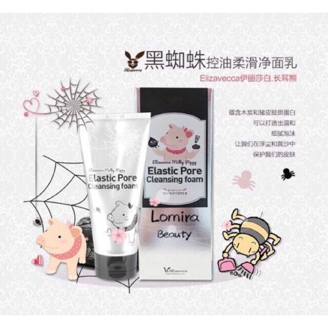 Elizavecca Milky Piggy Elastic Pore Cleansing Foam (120ml) •炭泥洗面奶 / 也可当面膜使用•