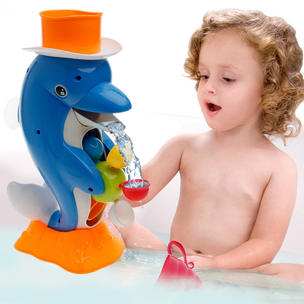 Cute Dolphin Bath Shower Wheel Baby Kids Water Spraying Tool Bathroom Toy Gift