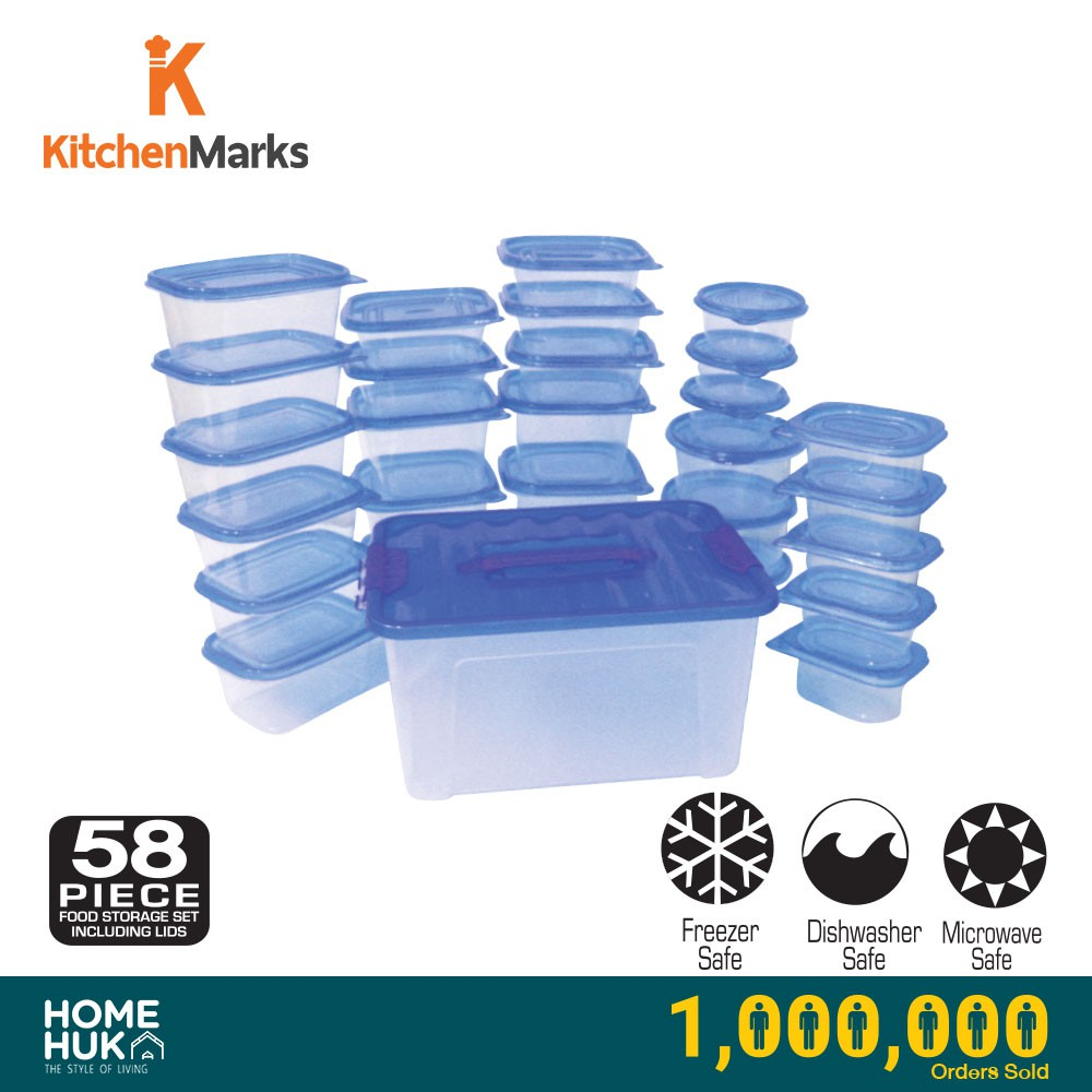 KitchenMarks BPA Free Food Storage Container / Food Box / Lunch Box with Lid / Tupperware (58 Pcs/29 Container)
