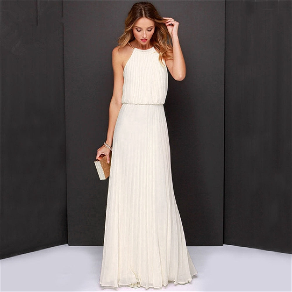4d175682af68c New Summer Sexy Spaghetti Strap Dress Long 2018 5 Color Sleeveless Pleated  Solid Dress