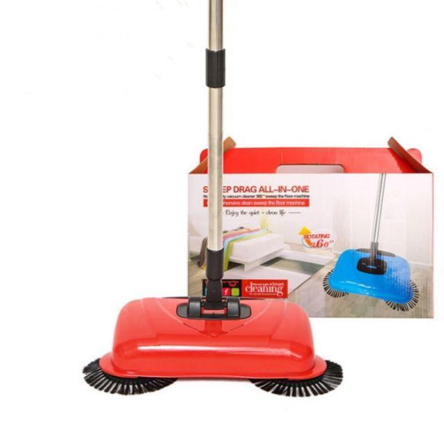 [ READY STOCK ]  360 Degree Manual Rotary Mop Penyapu Sweeper Hand Push Cleaning Broom Dust Kitchen Jualan Murah Brush