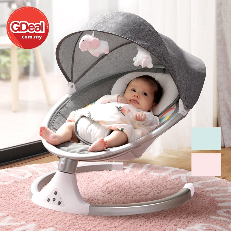 GDeal Baby Electric Cradle Rocking Chair One Click Swing With Music Buaian Bayi بواين بايي