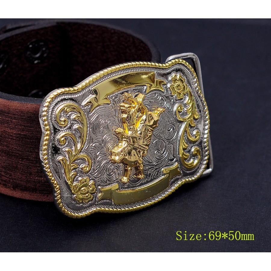 BULL RIDE RODEO LONG HUGE RODEO COWBOY WESTERN GOLD SILVER SHINE BELT BUCKLE MEN