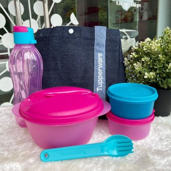 Tupperware Safe 2 Go Set + Blue Jean Bag Full Set / Set Without Bag / Turquoise with Pink Color Lunch Box