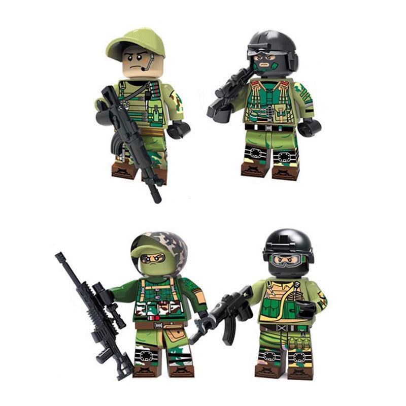 4pcs//set Military Germany Soldiers Army Building Blocks Bricks Figures Toys