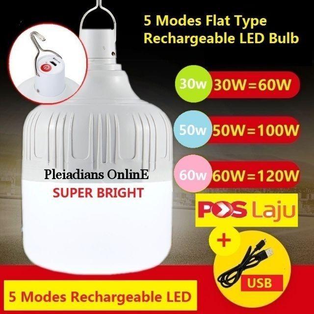 [ READY STOCK ]  Usb 5 Mode Flat Type Rechargeable Led Bulb Emergency Light Lampu Raya Pelita Lamp Jualan Murah Flash