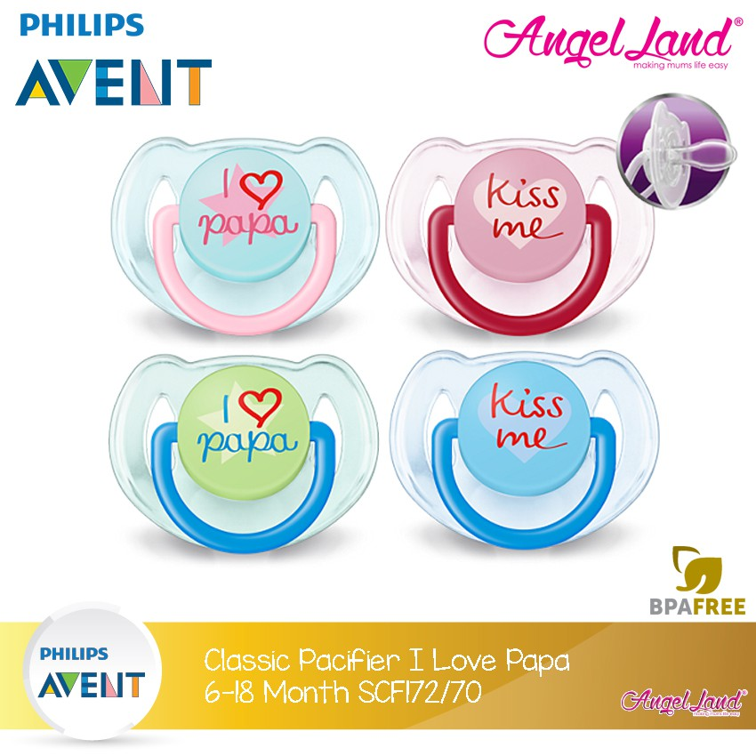 Philips AVENT Classic Pacifier Orthodontic Nipple x2 BPA Free All Size Color