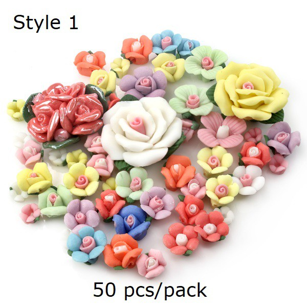 Mixed Colours and Sizes 25 Handmade Polymer clay Fimo floral flower Beads