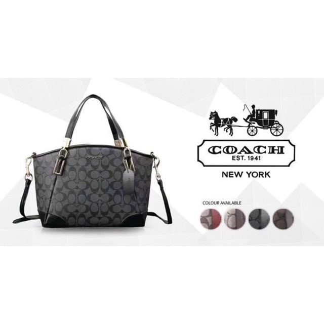 7151f0739453 Coach 36682 lychee grain leather rhombic chain bag shoulder bag ...