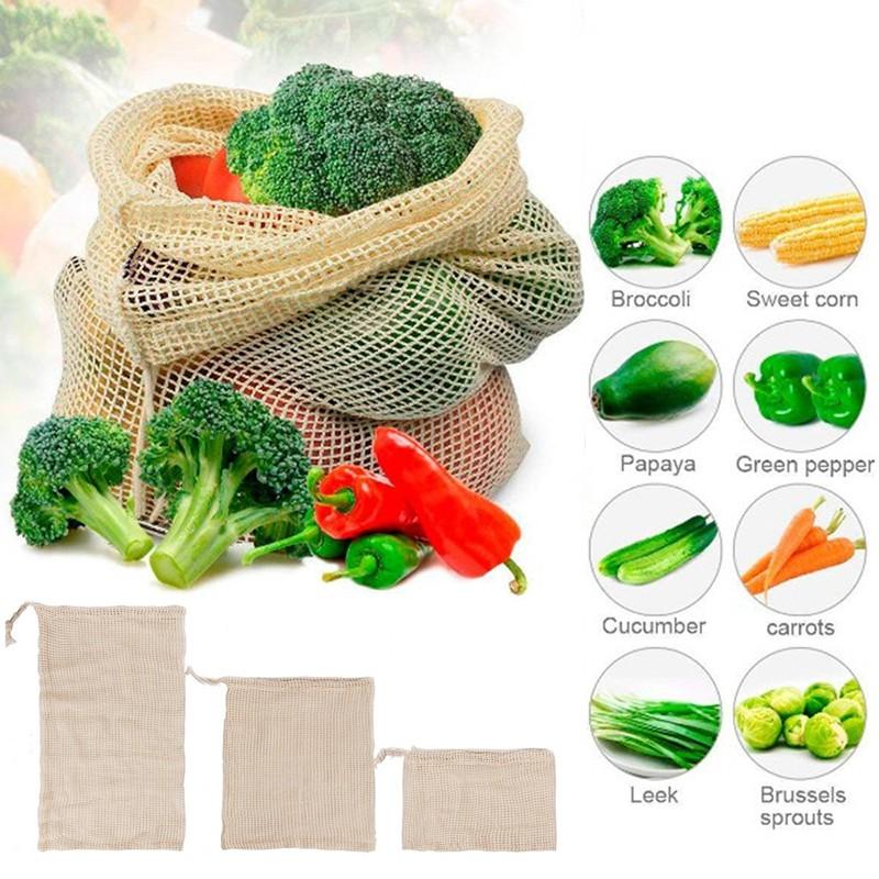 1PC Reusable Vegetable Fruit Bag Bags Kitchen Cotton Breathable Storage Pouch