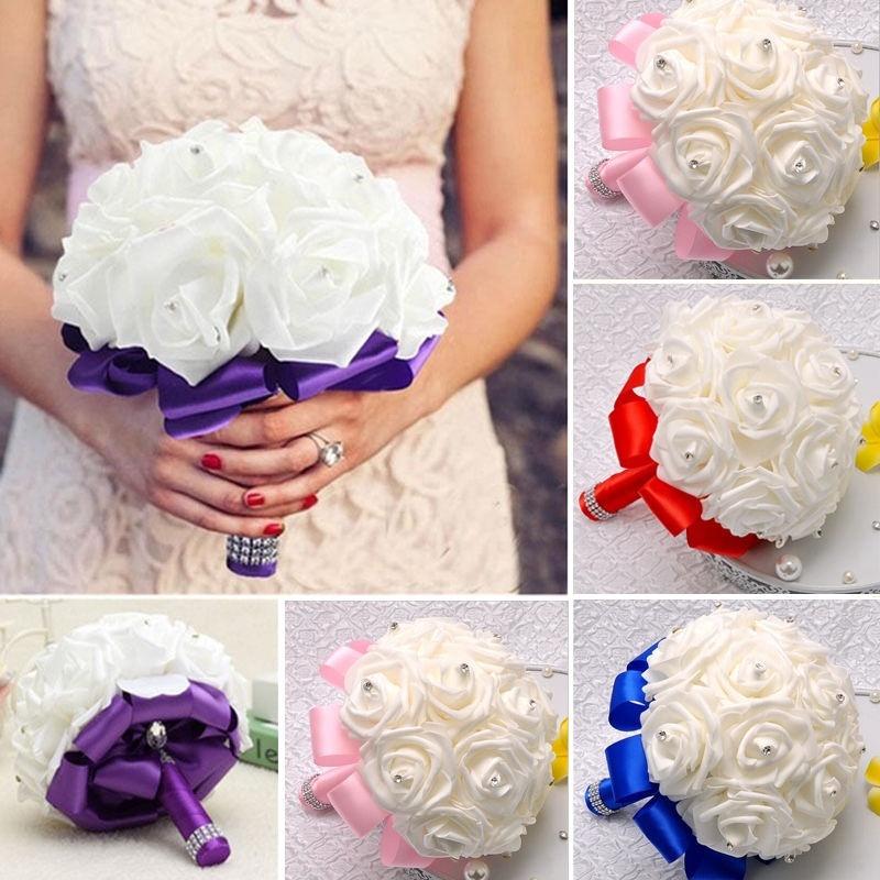 Handmade New Crystal Bridal Wedding Bouquet Silk Flower Bridesmaid
