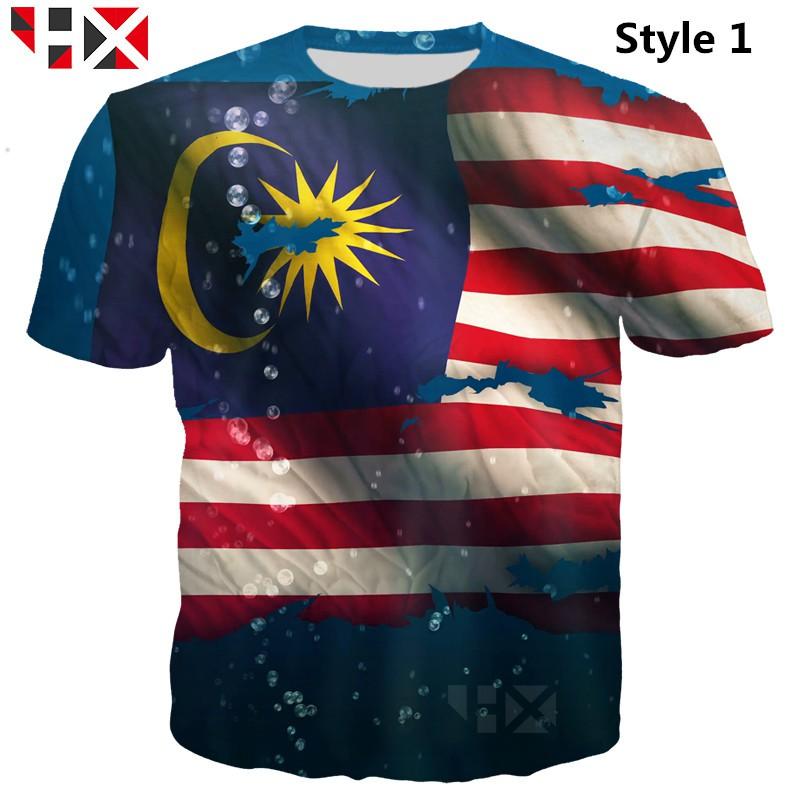 brand new cd0ba 006f4 HX 2019 Latest design Malaysia flag 3D Print Unisex Casual T Shirt