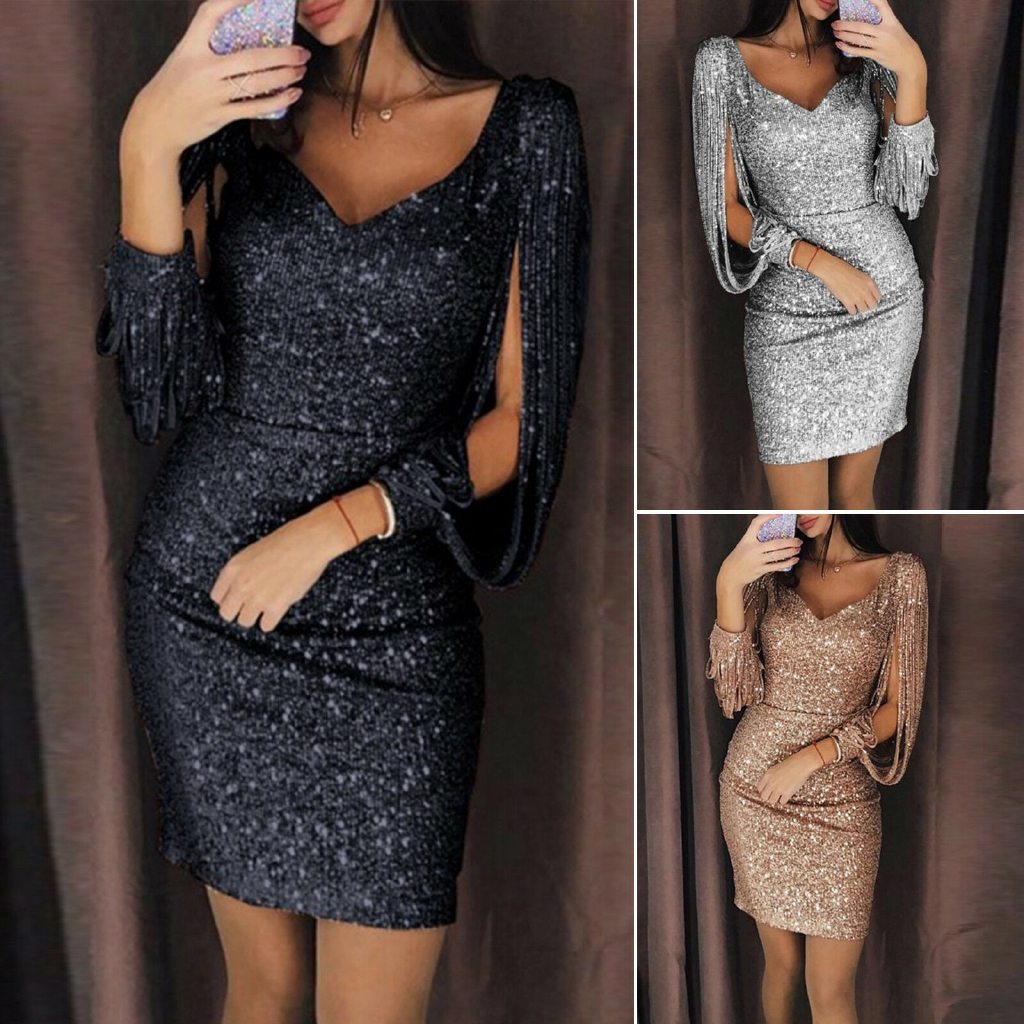 fd0208225a7ee Womens Sequin Glitter Mini Dress Sparkly Bodycon Evening Party Clubwear